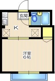シティハイム サツキ1階Fの間取り画像