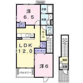愛甲石田駅 バス9分「高森二丁目」徒歩4分2階Fの間取り画像