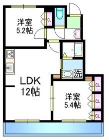 Court Villa 上ノ原Ⅲ1階Fの間取り画像