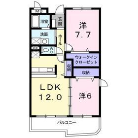 武蔵小杉駅 バス15分「下野毛」徒歩1分2階Fの間取り画像