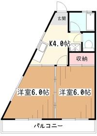 小沢ハイツ4階Fの間取り画像