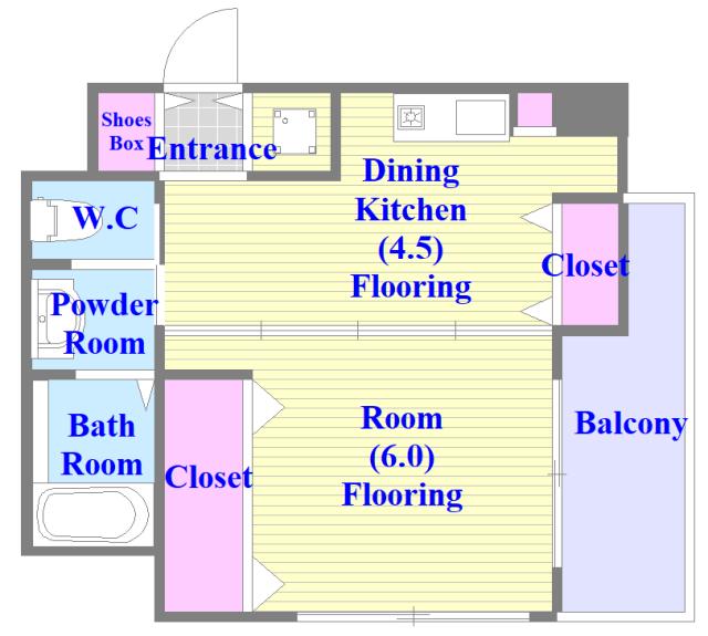 ファーストアベニール バストイレがセパレート、独立洗面所のある使い易い間取りです。
