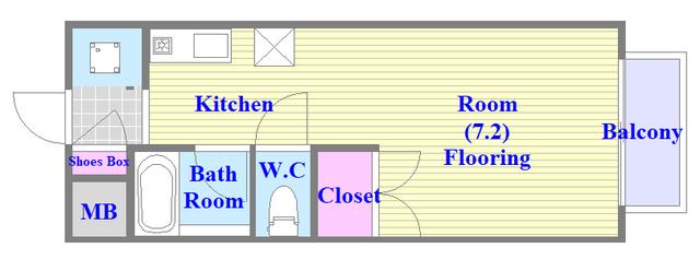 ビオス中小阪 うれしいバス・トイレがセパレートの単身さん向けの間取りです。