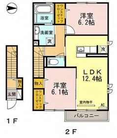 プレジオA2階Fの間取り画像