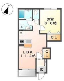 ラフォーレ1階Fの間取り画像