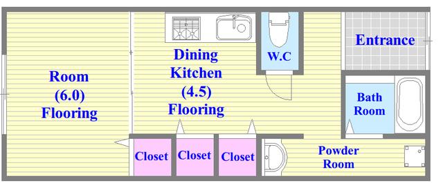ワイハウス 使いやすさを考えられた間取り。脱衣場もあります。