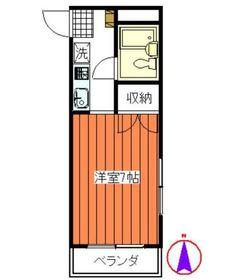 イング妙蓮寺2階Fの間取り画像