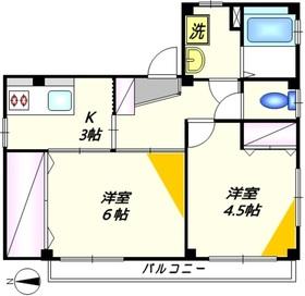 寺澤ハイツ2階Fの間取り画像