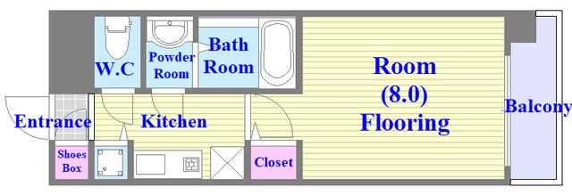 メゾン・ド・ヴィレ 深江 単身さん向けのセパレートのお部屋です。