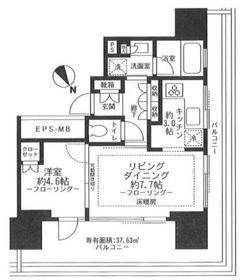 ウェリスタワー愛宕虎ノ門18階Fの間取り画像