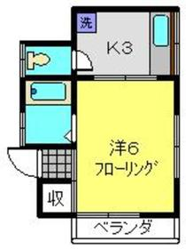 コーポタグチ2階Fの間取り画像