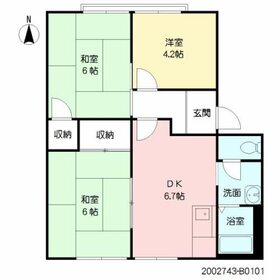 ベルテック須屋Ⅱ B棟1階Fの間取り画像