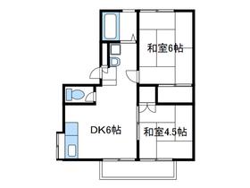戸室1丁目アパート2階Fの間取り画像