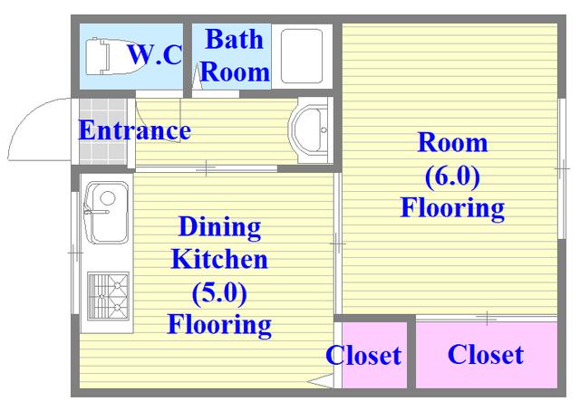 冨永コーポ 嬉しいバス・トイレが別のお部屋です。