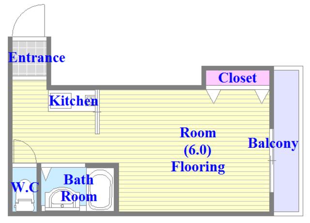 OKハイツ神路 バス・トイレがセパレート、各所に収納がある使いやすい間取り。