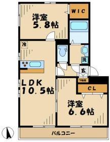 リブリTHEGATE(ザゲート)2階Fの間取り画像