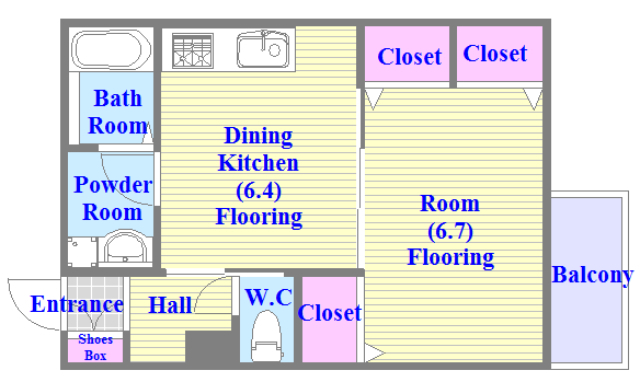 人気の全室フローリング。使いやすいゆったりとした間取り。