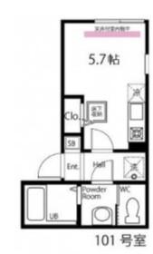 ハーミットクラブハウスヴァンキャトル鶴見1階Fの間取り画像