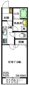 メゾンベル1階Fの間取り画像