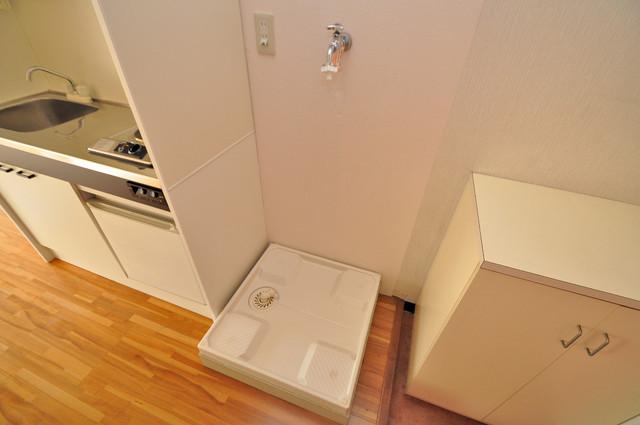 ハイツせせらぎ 室内洗濯機置場だと終了音が聞こえて干し忘れを防げますね。