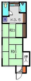 丸山荘A棟2階Fの間取り画像