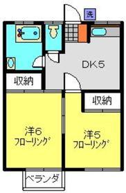 横山荘1階Fの間取り画像