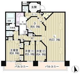 AQUACITY芝浦10階Fの間取り画像