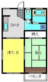 Kハイツ2階Fの間取り画像