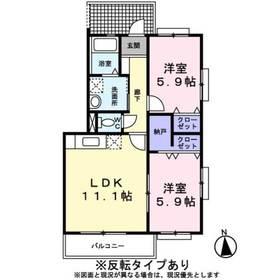リフージュⅡ1階Fの間取り画像