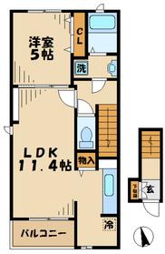 海老名駅 バス6分「坂下」徒歩11分2階Fの間取り画像