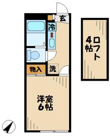 レオパレスグリーンリーブズ1階Fの間取り画像
