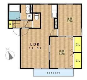 パレアナ2階Fの間取り画像