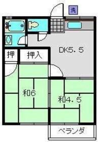 鈴木コーポ2階Fの間取り画像