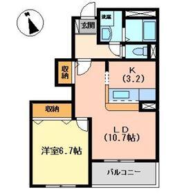 フィオーレ1階Fの間取り画像