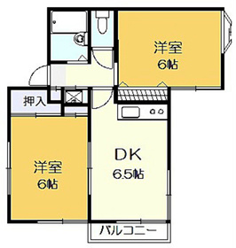カメリアハウスE2階Fの間取り画像