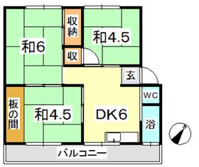 新倉敷マンション A3階Fの間取り画像