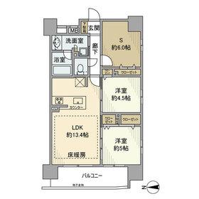 デュオシティ上野松が谷13階Fの間取り画像