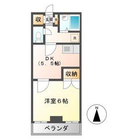 島村マンション3階Fの間取り画像