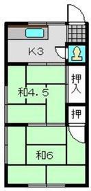 塚田アパート2階Fの間取り画像