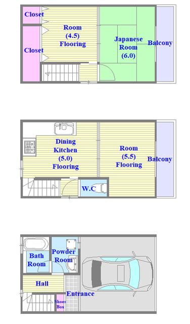 和室があり、とにかく広いファミリータイプな間取です。