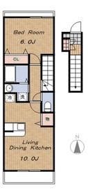 カーサドマーニⅠ2階Fの間取り画像