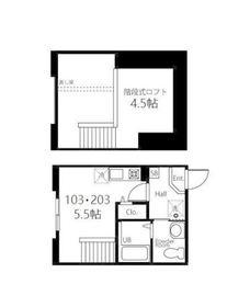 ハーミットクラブハウス神奈川新町Ⅱ2階Fの間取り画像