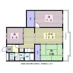 川島ハイツⅡ2階Fの間取り画像