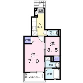 ラ・プルメリア1階Fの間取り画像