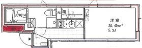 Kukai Terrace 河田町2階Fの間取り画像