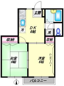 矢口サンハイツ1階Fの間取り画像