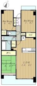 コスモ相模原スカイエッセ2階Fの間取り画像