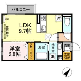 プラッツⅡ1階Fの間取り画像