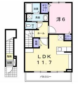 本厚木駅 バス16分「松蓮寺」徒歩6分2階Fの間取り画像