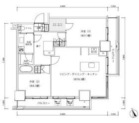パークキューブ愛宕山タワー23階Fの間取り画像